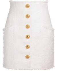 Balmain High Waist Cotton Blend Tweed Mini Skirt - White
