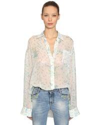 Ermanno Scervino - Oversized Floral Silk Georgette Shirt - Lyst