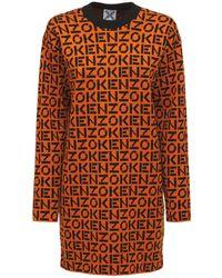 KENZO Платье Из Полухлопкового Трикотажа - Оранжевый