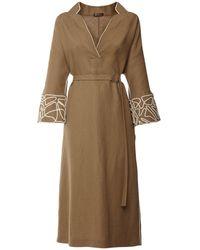 Loro Piana Платье С V-образным Вырезом И Вышивкой - Естественный