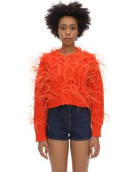 Valentino Feather Embroidery Cashmere And Wool Jumper - Orange