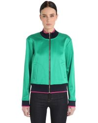 Juicy Couture Bird Stretch Satin Bomber Jacket