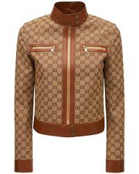 Gucci Veste En Coton Mélangé À Logo Avec Liseré En Cuir - Marron