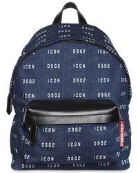 DSquared² Rucksack Aus Denim Mit Logodruck - Blau