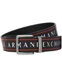 Armani Exchange リバーシブルレザーベルト 3cm - ブラック