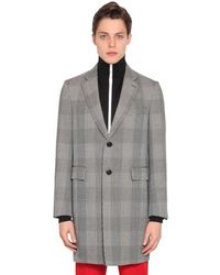 Versace Checked Wool Gabardine Coat - Grey