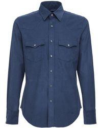Tom Ford ライトコットンコーデュロイシャツ - ブルー