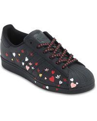 """adidas Originals Ledersneakers Mit Druck """"superstar"""" - Schwarz"""