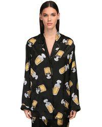 Balenciaga Пижамная Рубашка Из Атласа С Принтом - Черный