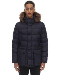 Moncler Cluny Down Jacket W/ Coyote Fur Collar - Blau
