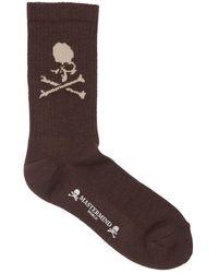 MASTERMIND WORLD World Logo Ribbed Socks - Brown