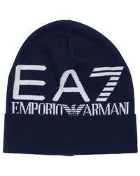 EA7 ジャカードロゴビーニー - ブルー