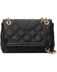 Tory Burch Fleming Soft Leather Shoulder Bag - Black
