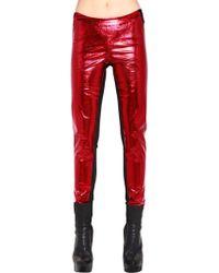 Gareth Pugh Pantalones De Ecopiel Metalizados - Rojo