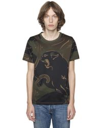 Valentino - Panther & Camo Cotton Jersey T-shirt - Lyst