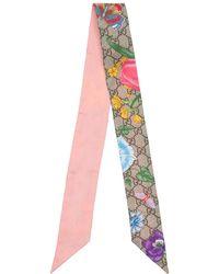 Gucci シルクネックスカーフ - ピンク