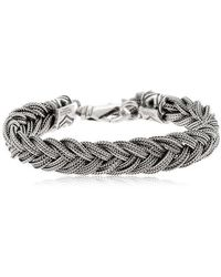 Emanuele Bicocchi - Fishtail Braid Silver Chain Bracelet - Lyst