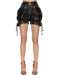 DSquared² - High Waist Leather Military Shorts - Lyst