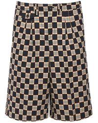 Burberry Karierte Shorts Aus Baumwolle Mit Plissees - Schwarz