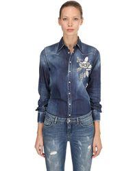 DSquared² Mirror Embellished Cotton Denim Shirt - Blue