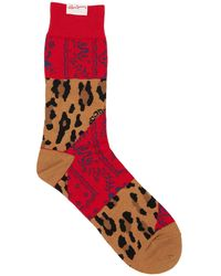 Sacai Leo & Bandana Cotton Blend Socks - Red