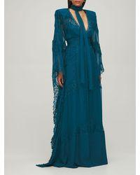 Zuhair Murad チュール&レースドレス - ブルー