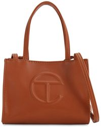 Telfar Small Embossed Faux Leather Tote Bag - Brown