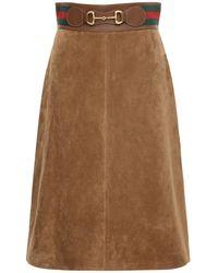 Gucci スエードスカート - ブラウン