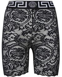 Versace Shorts Cycling In Pizzo Stretch - Nero