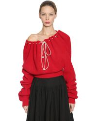 CALVIN KLEIN 205W39NYC - Cotton Knit Cropped Sweater - Lyst