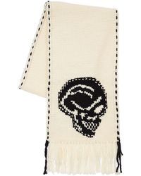 Alexander McQueen Skull Intarsia Wool Scarf - Schwarz