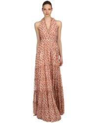 Luisa Beccaria - Roses Printed Georgette Dress - Lyst