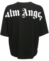 Palm Angels Bedrucktes T-shirt Aus Baumwolljersey - Schwarz