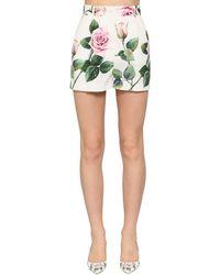 Dolce & Gabbana Short En Popeline De Coton Taille Haute - Vert