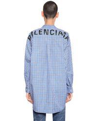Balenciaga - Logo Printed Check Cotton Poplin Shirt - Lyst