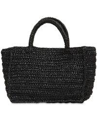 Miista Clyde Woven Raffia Bag - Black