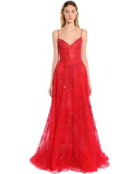 Zuhair Murad Beaded Tulle Floral Gown - Red