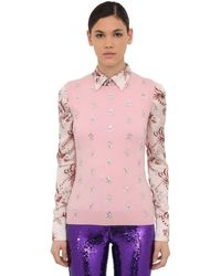 Paco Rabanne Merino Wool Knit Vest W/ Crystals - Pink