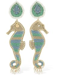 Mercedes Salazar Seahorse Clip-on Earrings - Grün