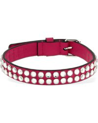 Moschino Leather Choker W/ Crystal Studs - Multicolour