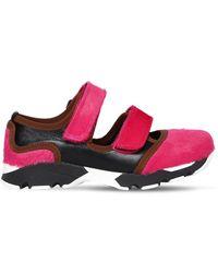 Marni 20mm Hohe Sneakers Aus Leder Und Ponyhaar - Pink
