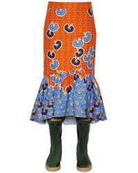 Stella Jean プリント柄 コットンツイル フリル付きミディスカート - ブルー