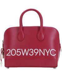 CALVIN KLEIN 205W39NYC Small Dalton Logo Printed Leather Bag - Red