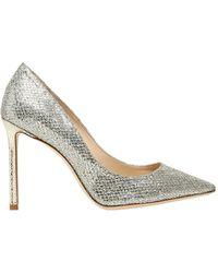 Jimmy Choo - 100mm Romy Glitter & Net Lace Court Shoes - Lyst