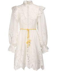 Zimmermann - Платье Carnaby С Оборками И Высоким Воротником - Lyst