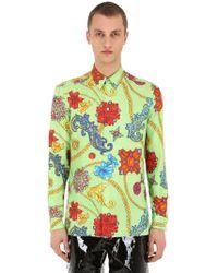 Versace - Camicia In Twill Di Seta Stampata - Lyst