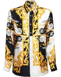 Versace Camicia In Seta Con Stampa Barocca - Multicolore