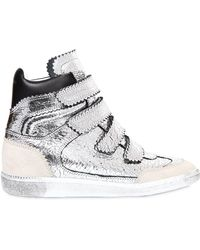 81f7e59655cd Isabel Marant - Bilsy Concealed-wedge Metallic Leather Trainers - Lyst