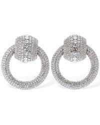 Alessandra Rich Crystal Circle Clip-On Earrings - Métallisé
