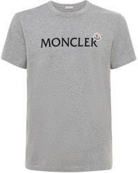Moncler T-shirt Aus Baumwolljersey - Grau
